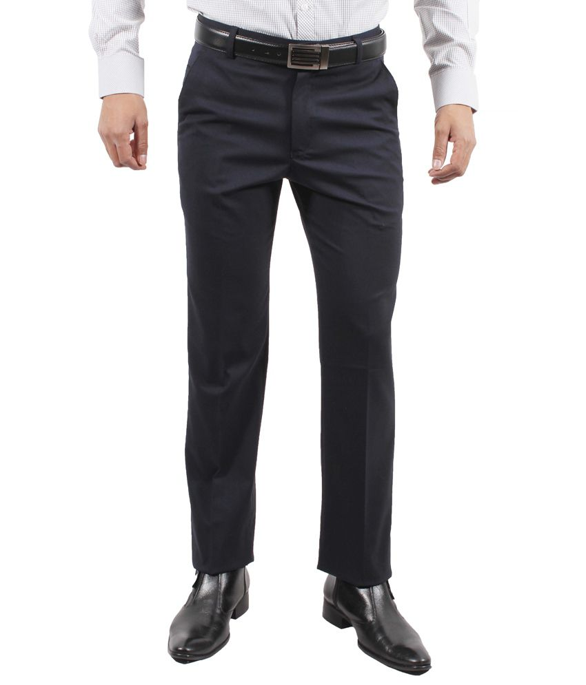 Solemio Navy Poly Viscose Slim Fit Formal