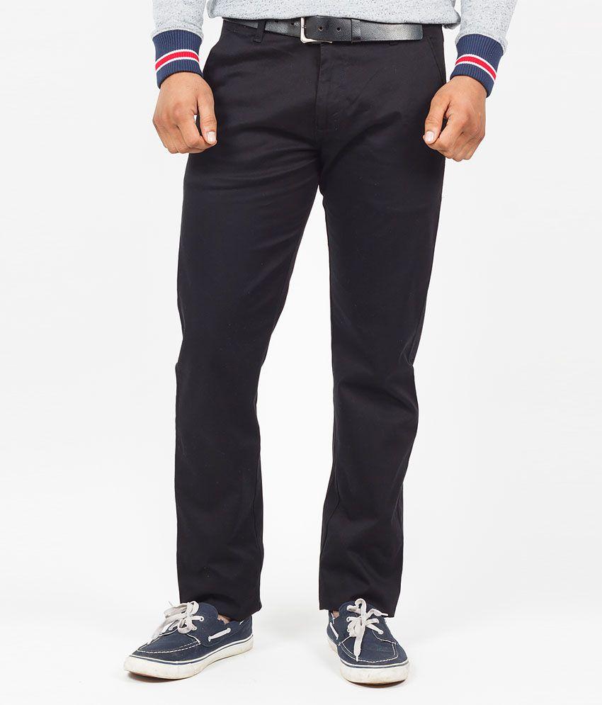 The Vanca Black Cotton Lycra Slim Fit Trouser