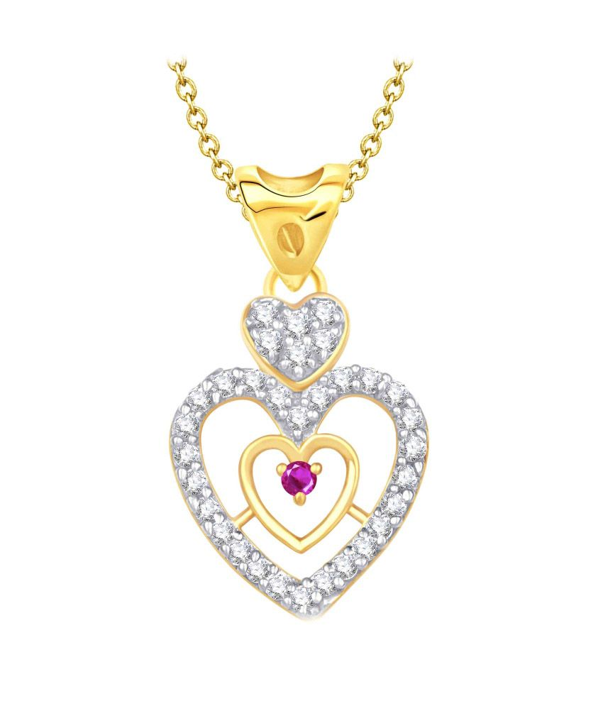 Vk Jewels Heart Shaped Golden Pendant With Chain