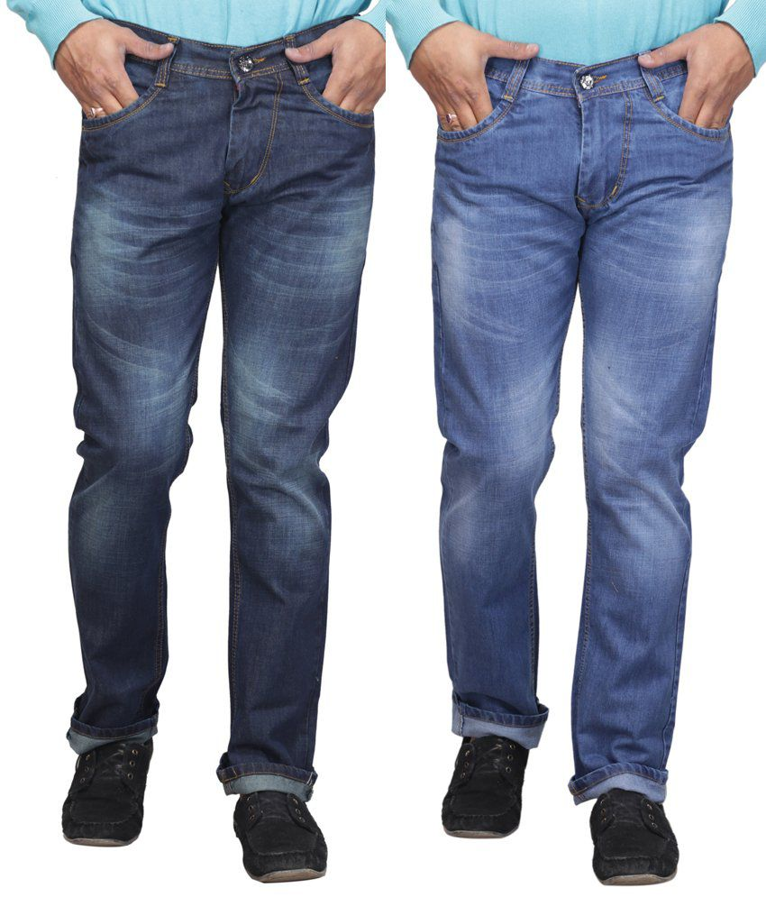 X-cross Regular Fit Faded Cotton Blend Blue Streachable Jeans (pack Of 2)