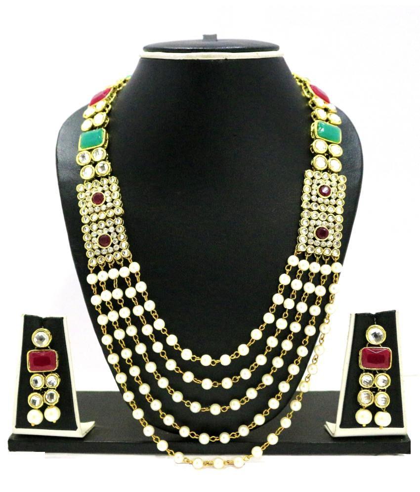 Zaveri Pearls Green Alloy Contemporary Necklace Set
