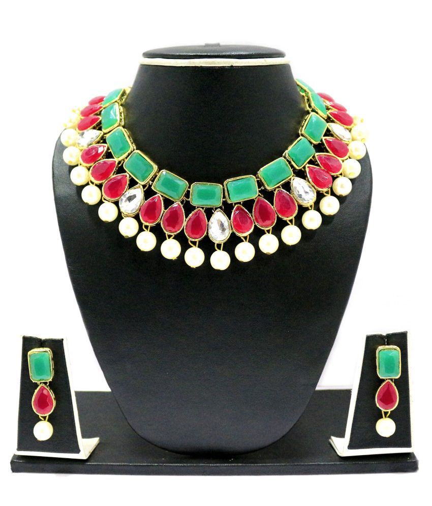 Zaveri Pearls Multicolour Alloy Contemporary Necklace Set