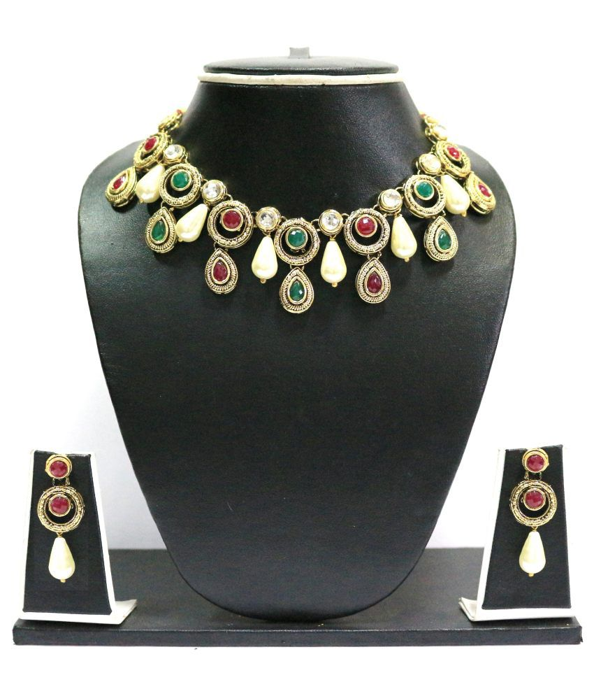Zaveri Pearls Red Alloy Contemporary Necklace Set