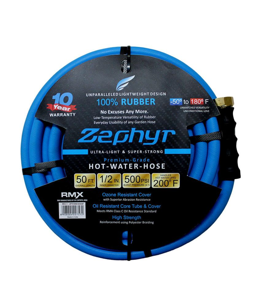 Zephyr Ultra-performance Rubber Garden Hose - 1/2 Inch X 50' (15m) With 10  Year Warranty