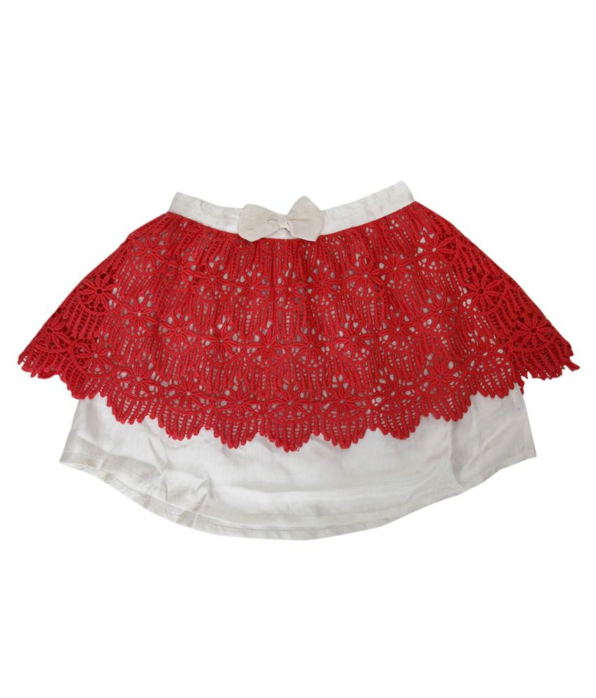 B'bay Pure Cream Silk Design Elastic Skirt