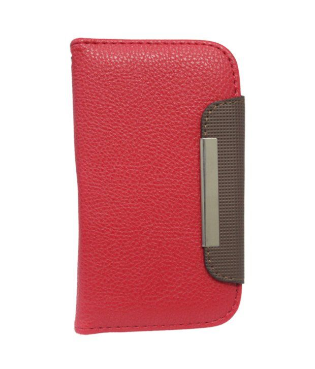 Jo Jo Z Series Magnetic High Quality Universal Red Phone Flip Case Cover Stand For Videocon A55 Hd