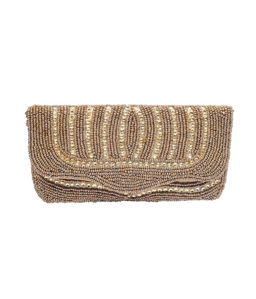 Jugnu Zari Handicraft Golden Threefold Handpurse/wallet
