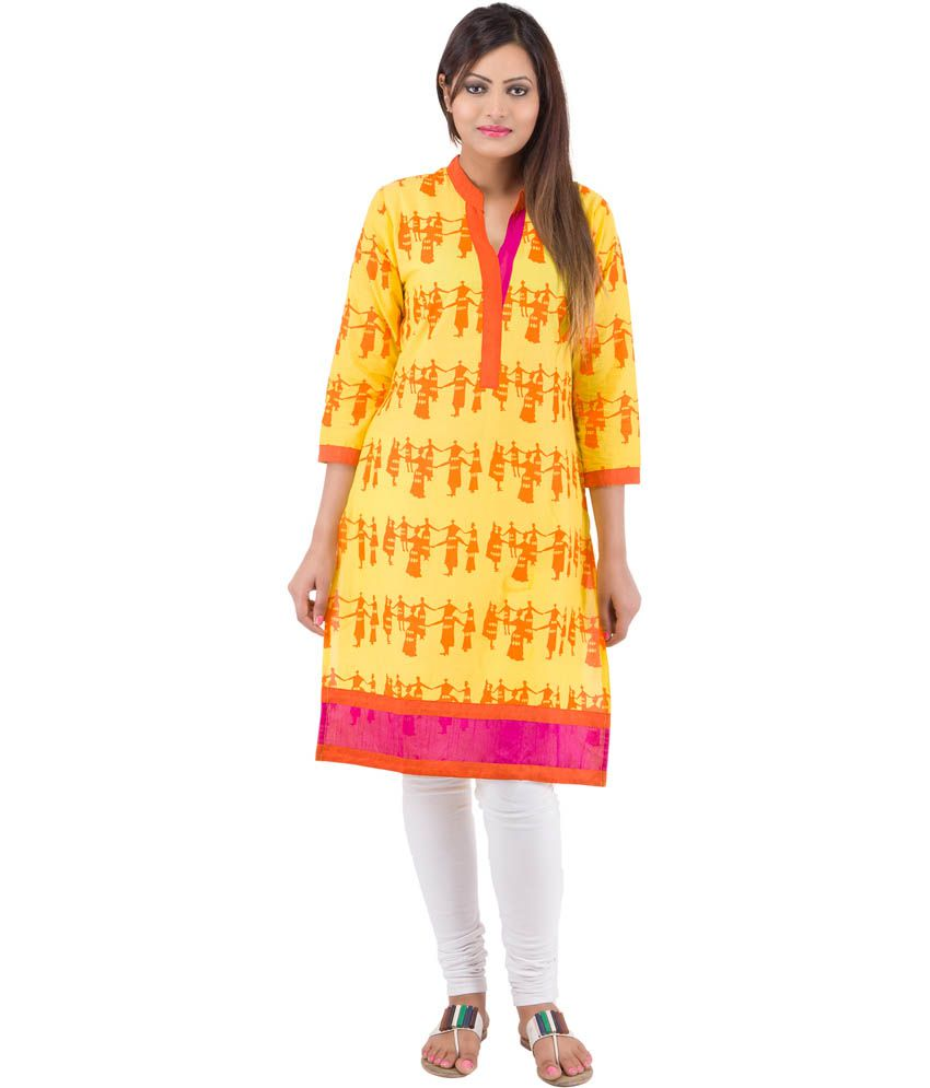 Rash Collection Yellow Plain Cotton Chinese Collar Full Sleeves Long Kurti