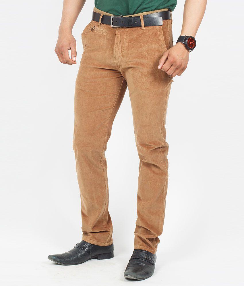 The Vanca Khaki Cord Lycra Slim Fit Trouser