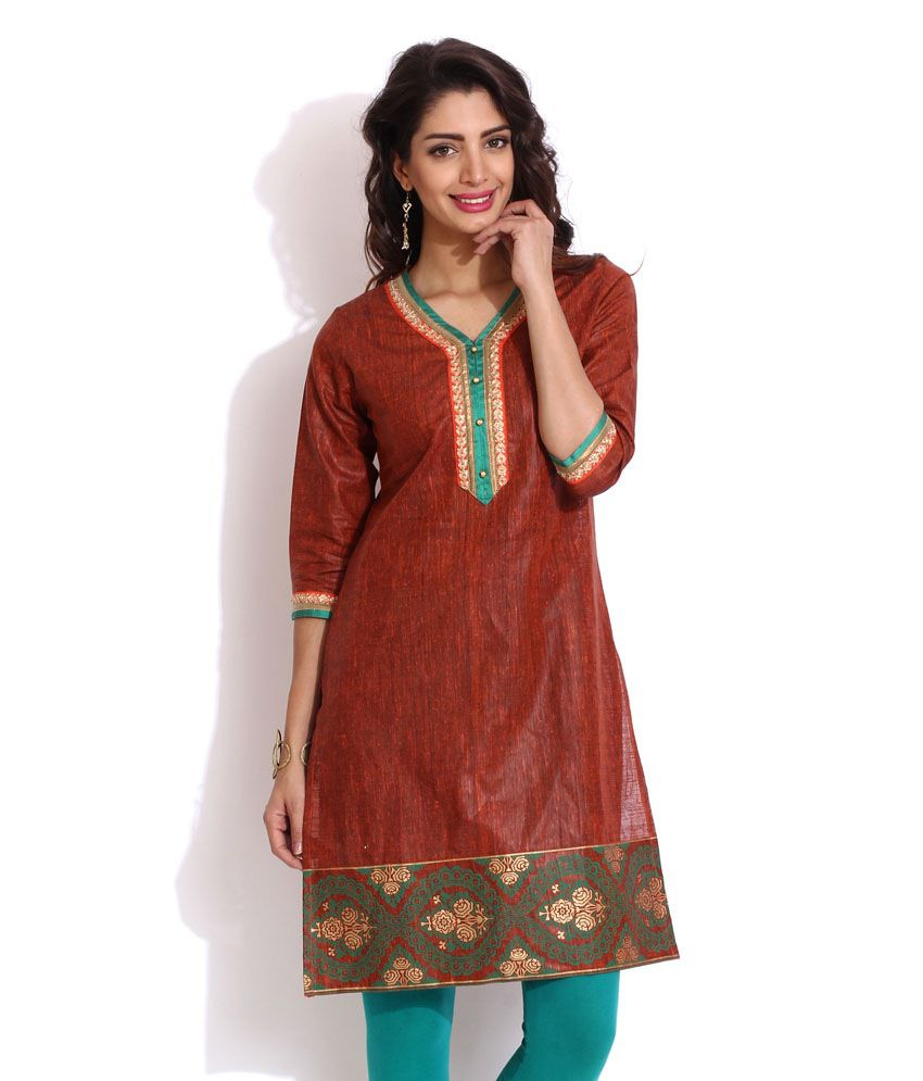 Aaboli Rust Cotton Straight Women Long Kurta