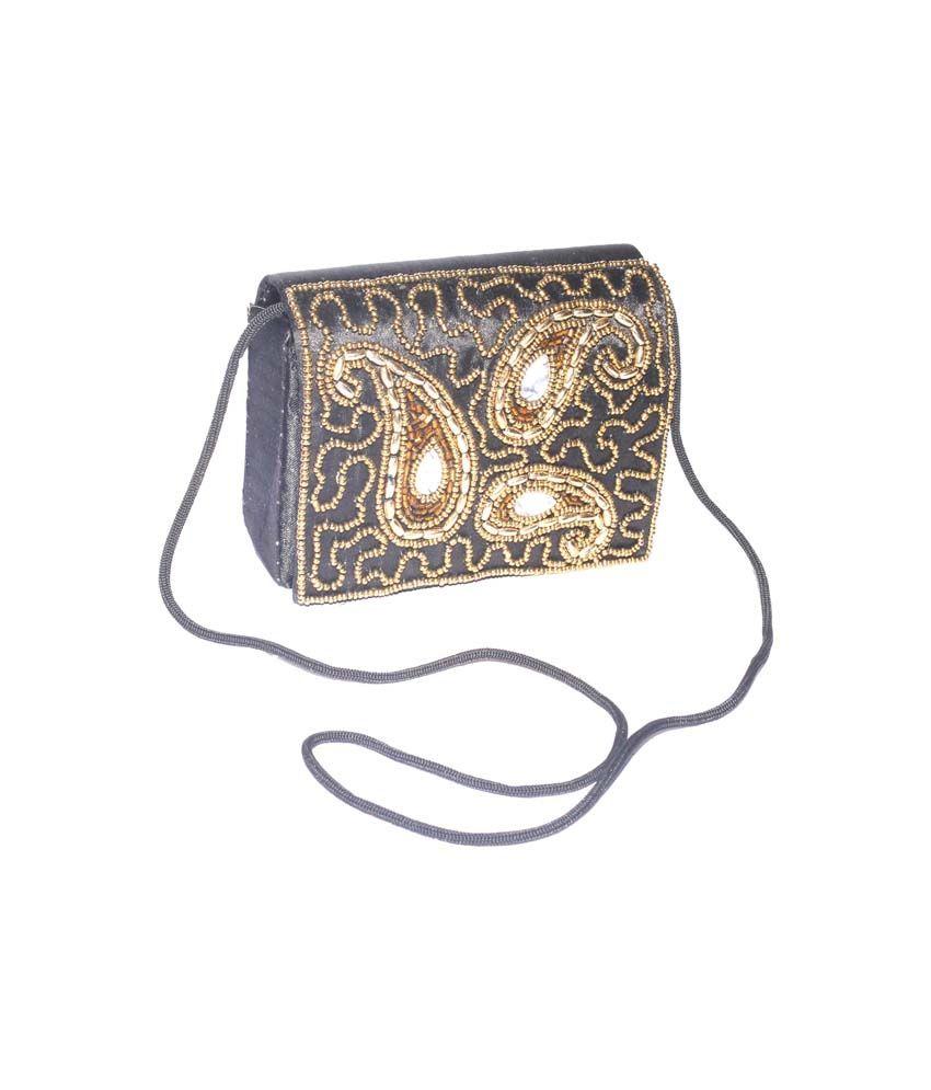 Jugnu Zari Handicraft Black Color Women/child Small Handbag