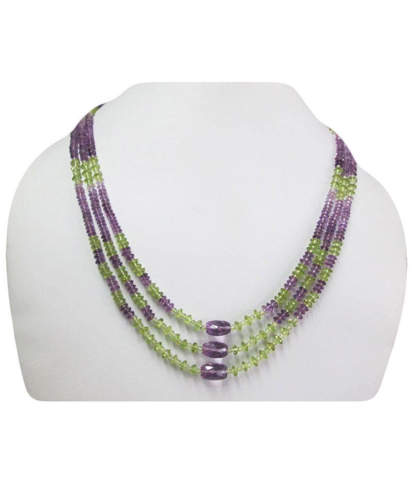 Anushruti Amethyst And Peridot Beads Necklace