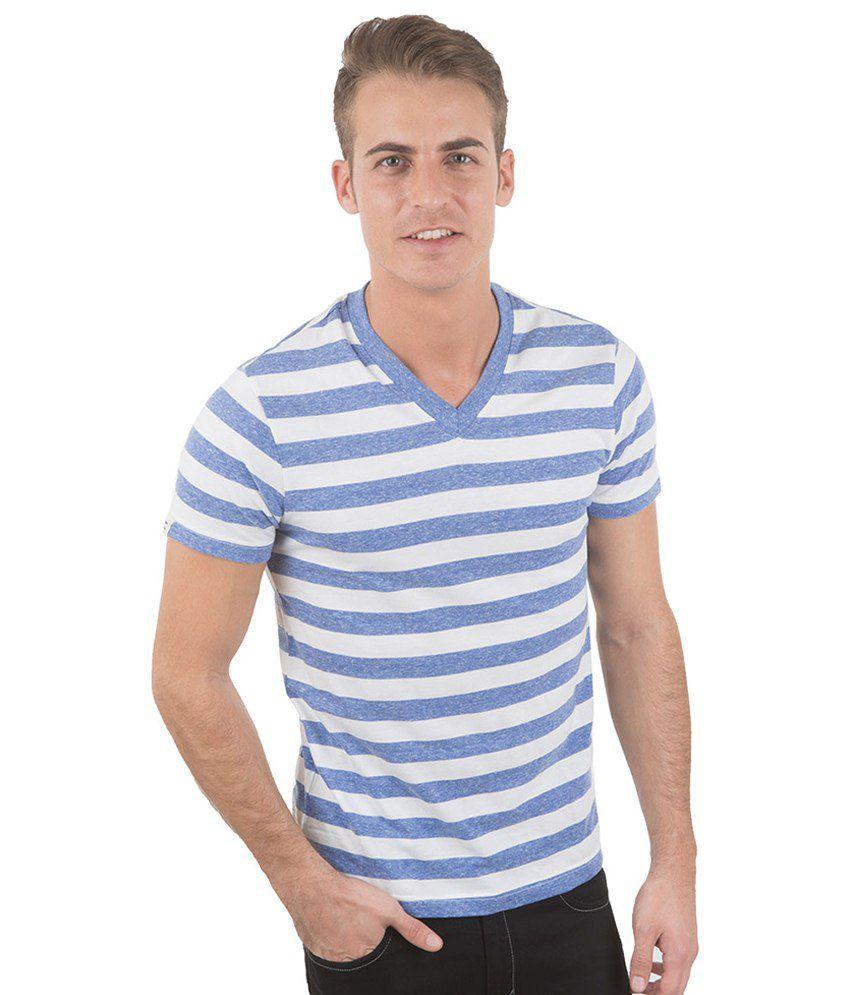 Freecultr Sal Blue & White Striped T Shirt
