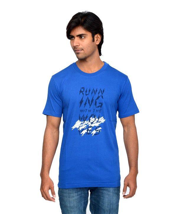 Wolfpack Blue Cotton Round Neck Half Half T-shirt
