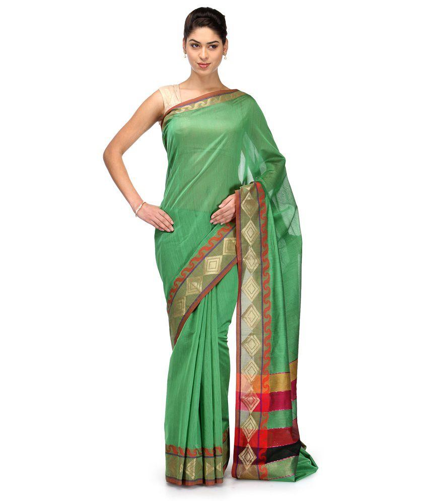 Bunkar Green Cotton Saree