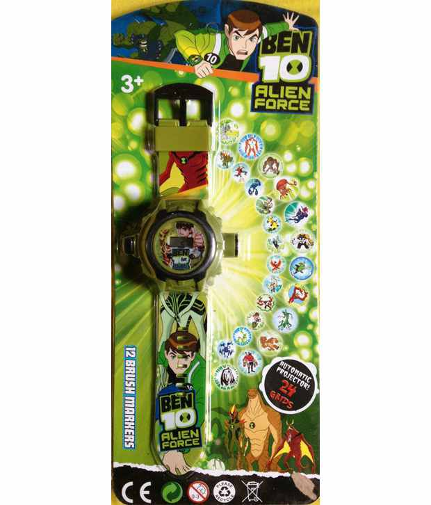 All India Handicrafts Military Green character Projector Watch