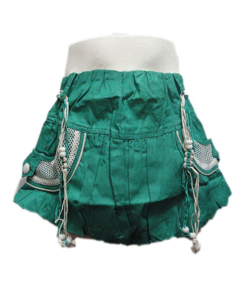 Threads Green Cotton Printed Skirt