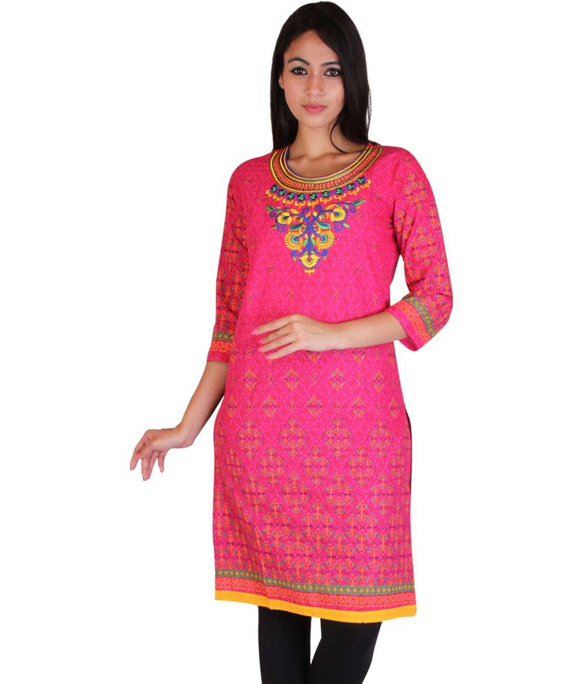 Turi Pink Cotton Printed Woven Kurti