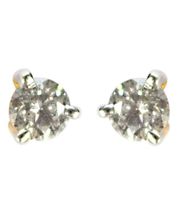 Kataria Jewellers BIS Hallmark 14kt Single Diamond Stud Earrings