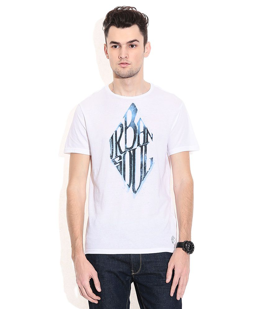 Gas White Cotton Round Neck T-shirt