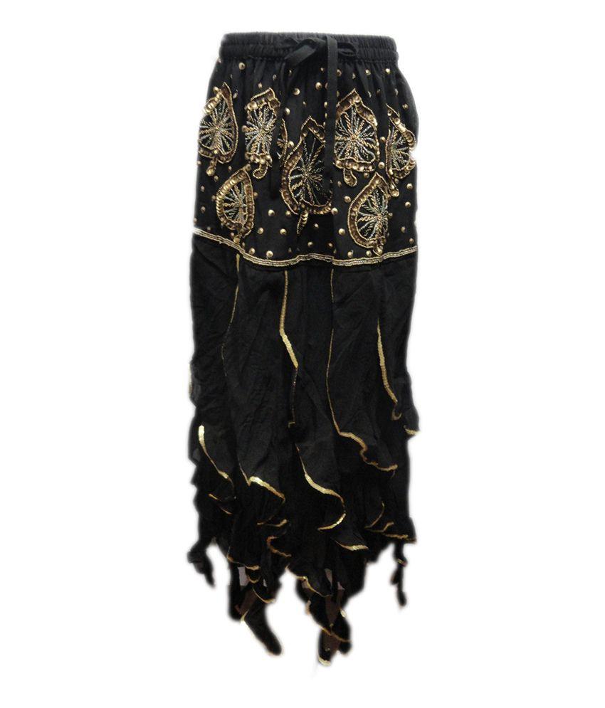 Threads Black Silk Printed Skirt