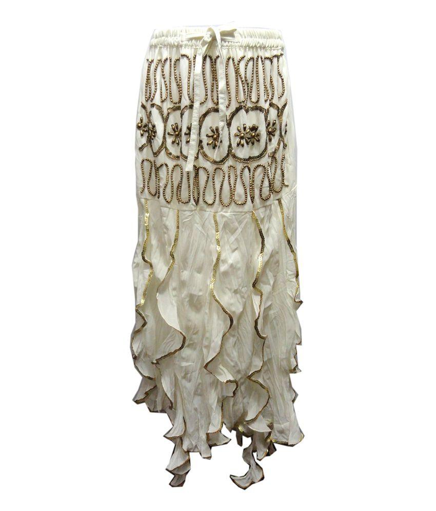 Threads Cream Cotton Printed Skirt