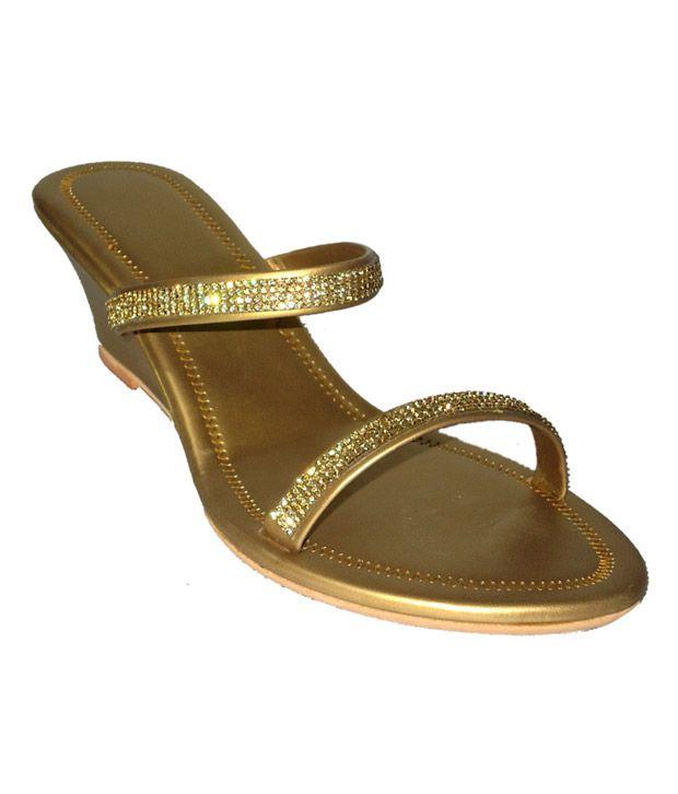 Cobblerone Golden Wedge Heels