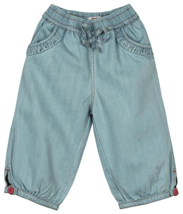 Oye Blue Cotton Capri