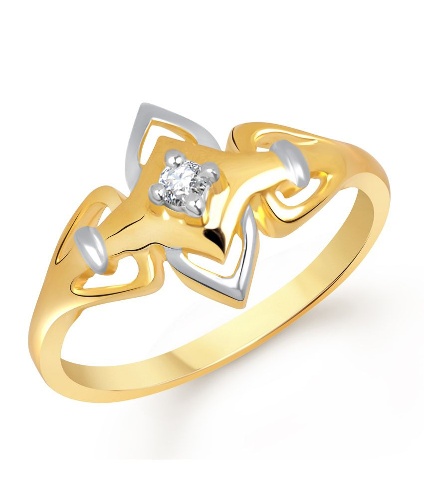 Vk Jewels Single Stone Gold And Rhodium Plated Designer Ring: Buy ...