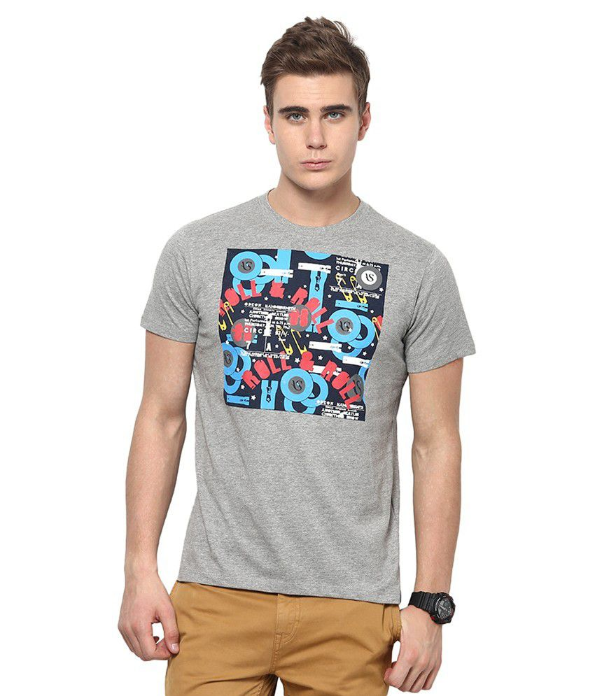 American Swan Gray Cotton Round Neck T-shirt