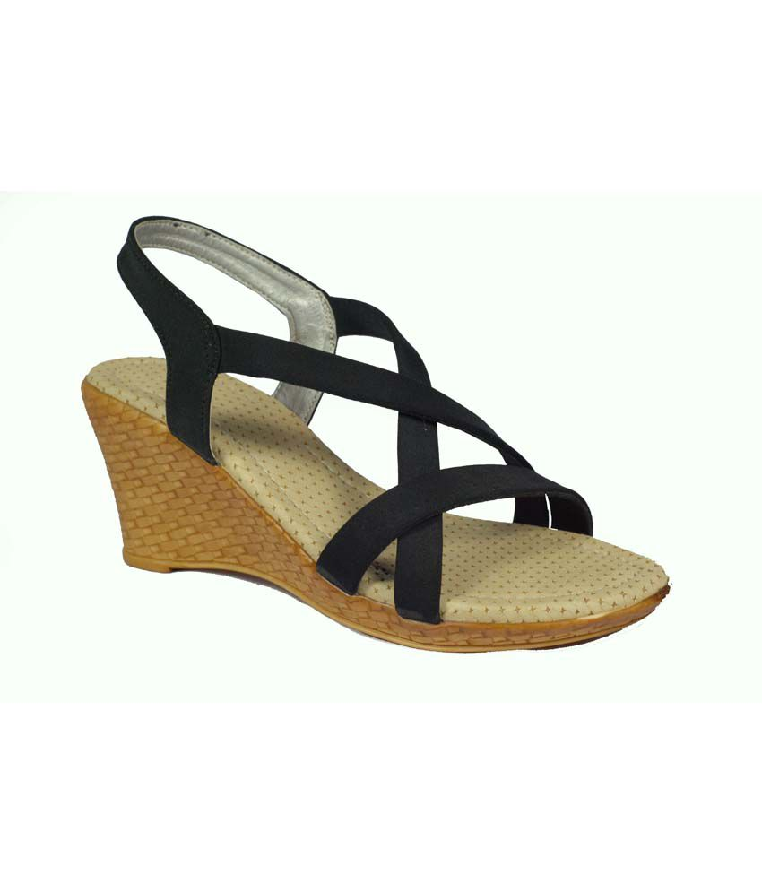 Azzire Black High Heel Satin Heeled Sandals