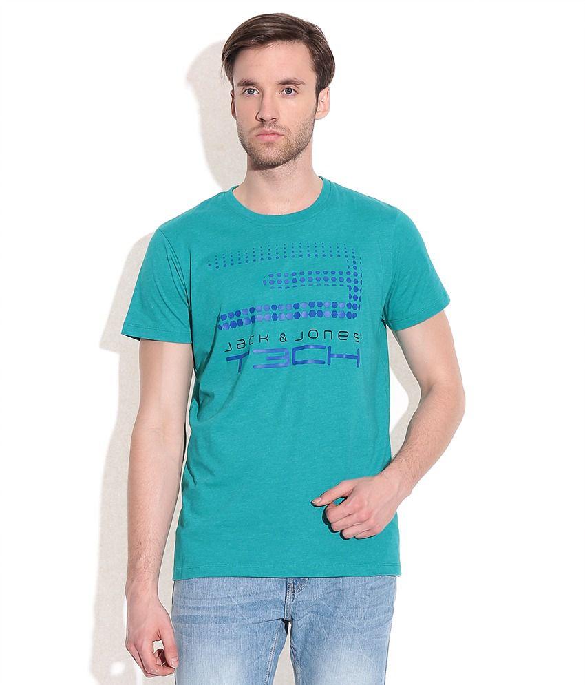 Jack & Jones Blue Cotton Blend T-Shirt