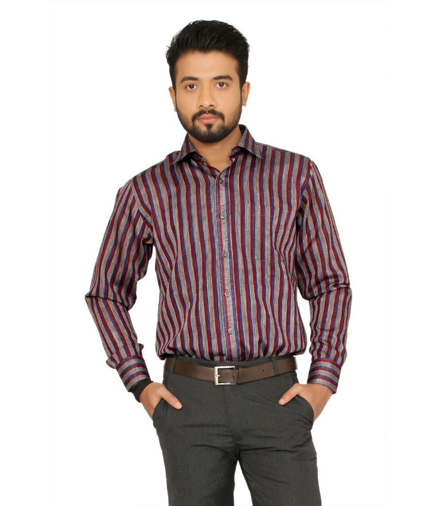 Indian Weller Red Stripes Cotton Blend Full Sleeves Formals ...