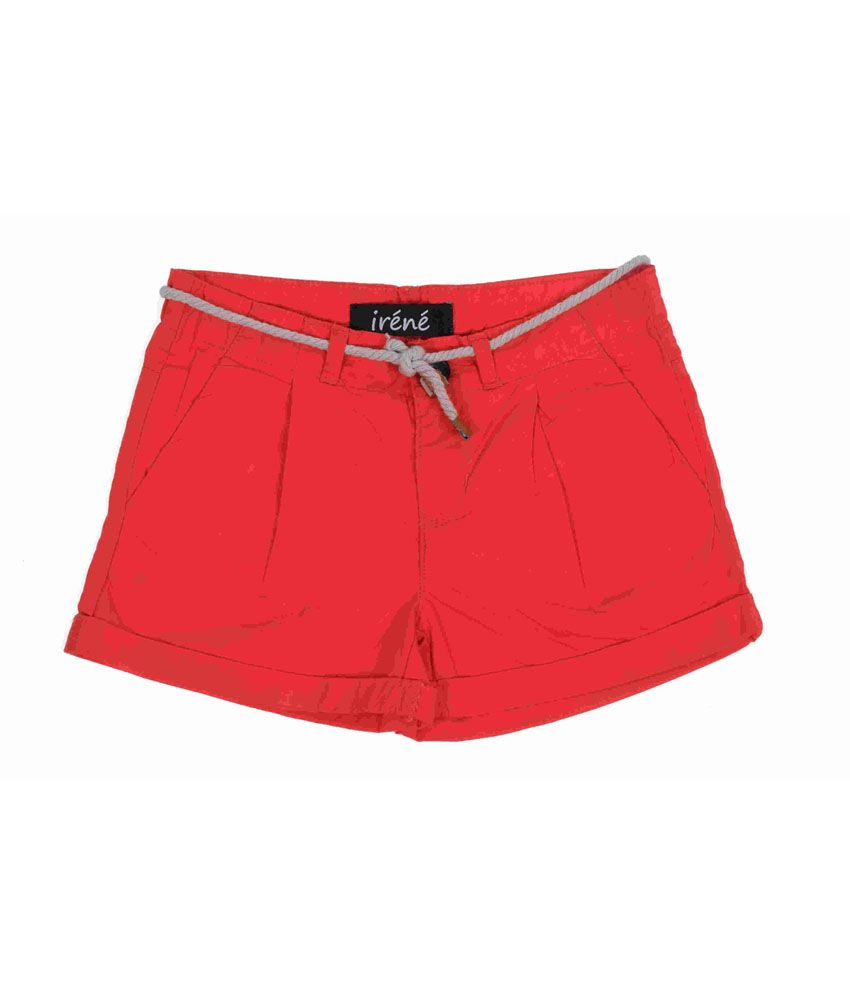 Irene Red Cotton Shorts