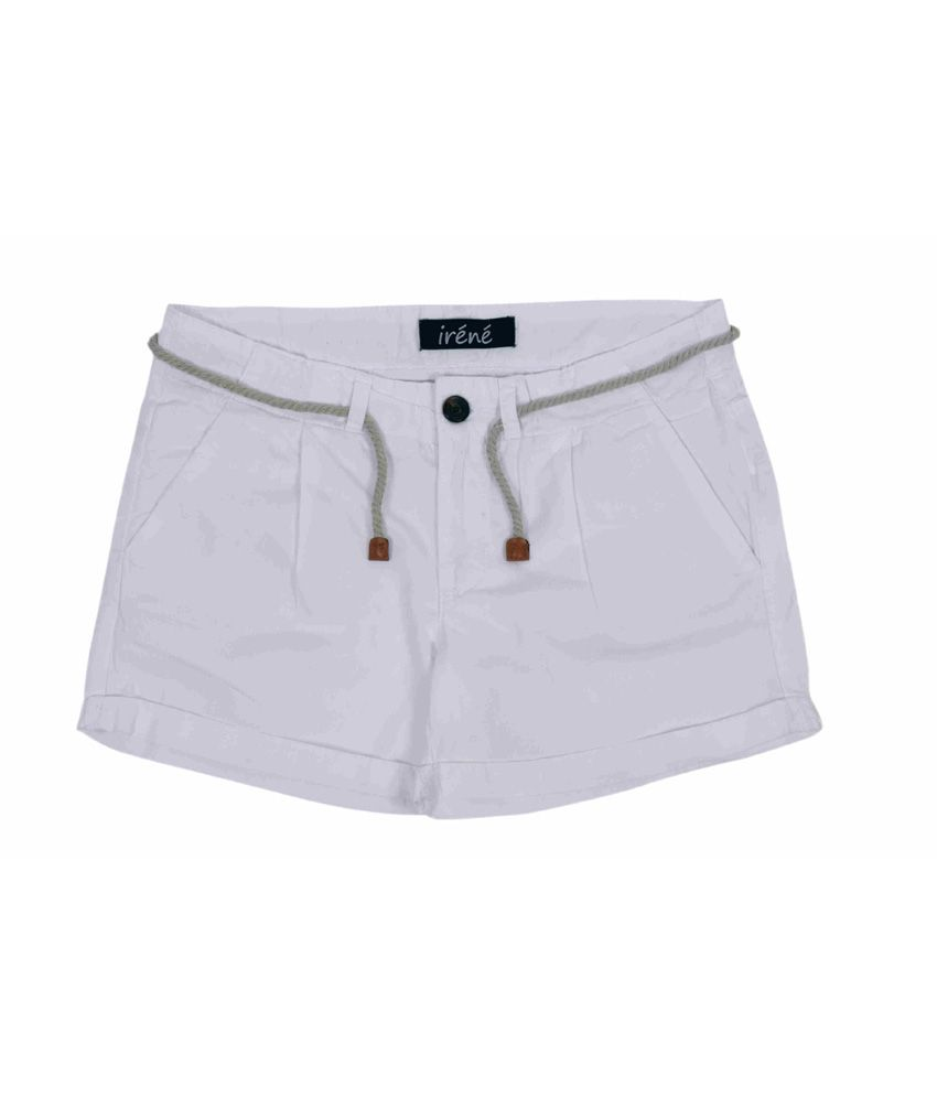 Irene White Cotton Shorts