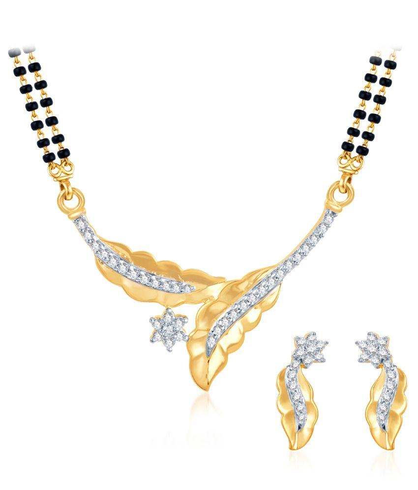 Sukkhi Dazzling CZ Gold and Rhodium Plated Mangalsutra Set (Free Chain)