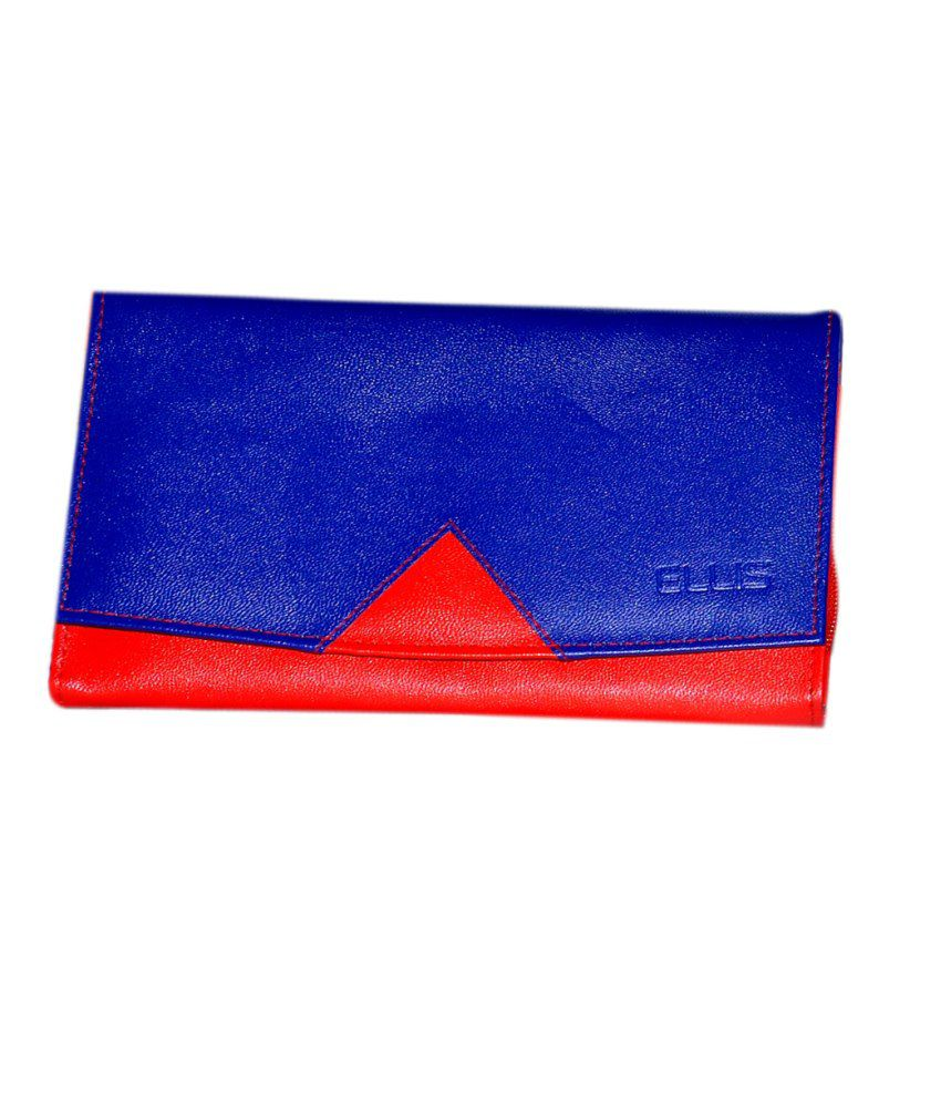 Buy ELLIS Red And Blue Ladies Purse With Brand Embossing ...