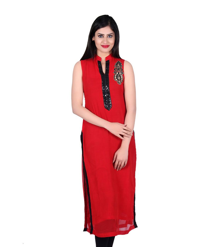 Matelco Red Faux Georgette Embroidered Chinese Collar Long Kurti