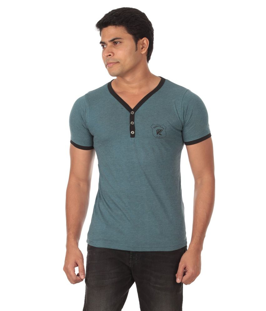 Rampwaq Green Cotton V-Neck Half Sleeve T-shirt