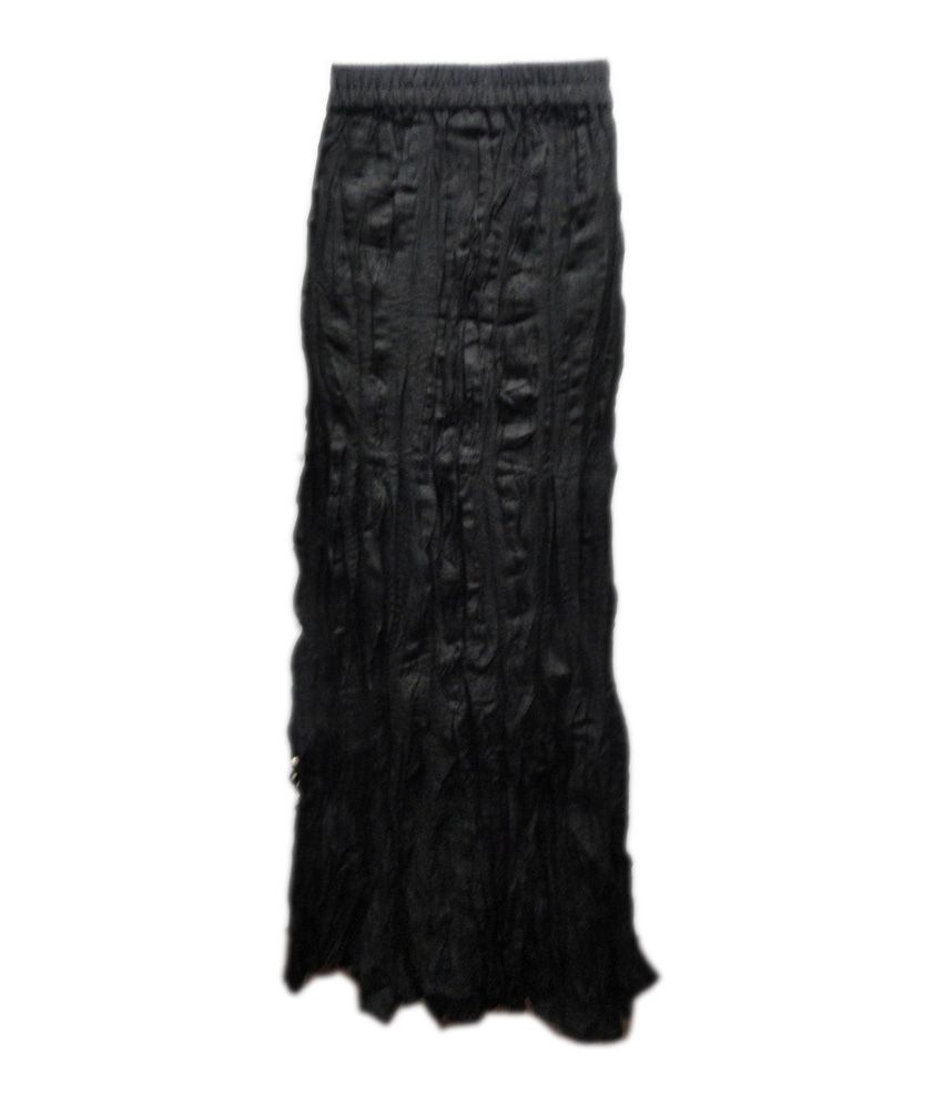 Threads Black Cotton Printed Skirt
