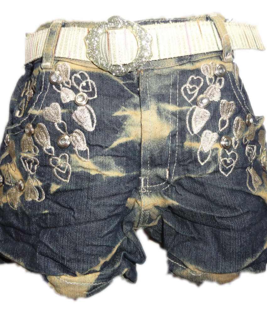 Threads Gray Denim Printed Skirt