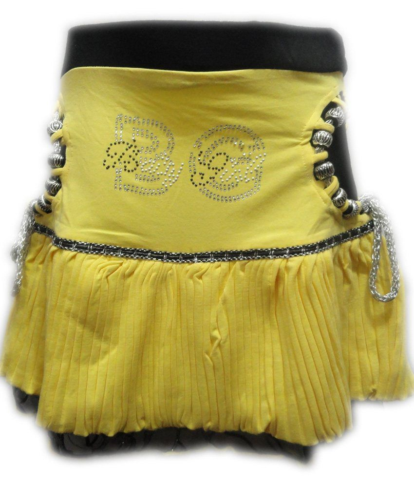 Threads Yellow Synthetic Printed Skirt