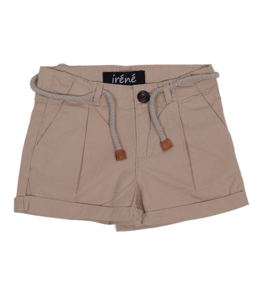 Irene Beige Cotton Shorts