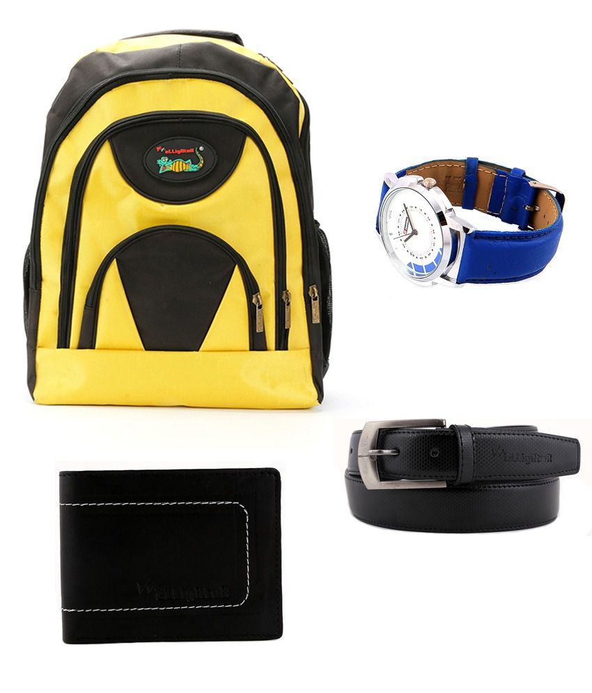 Elligator Laptop Bag, Watch, Wallet and Belt Combo