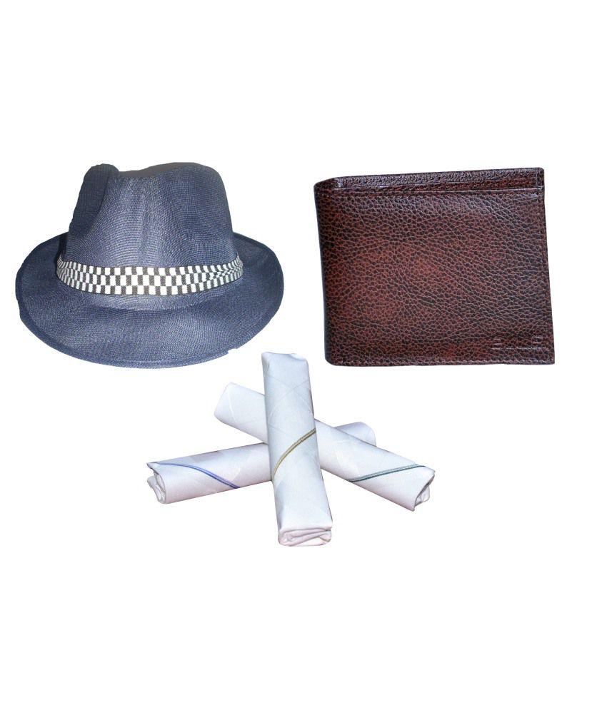 Ellis Blue Fidora Hat With Free Wallet, 3pcs Cotton Hanky