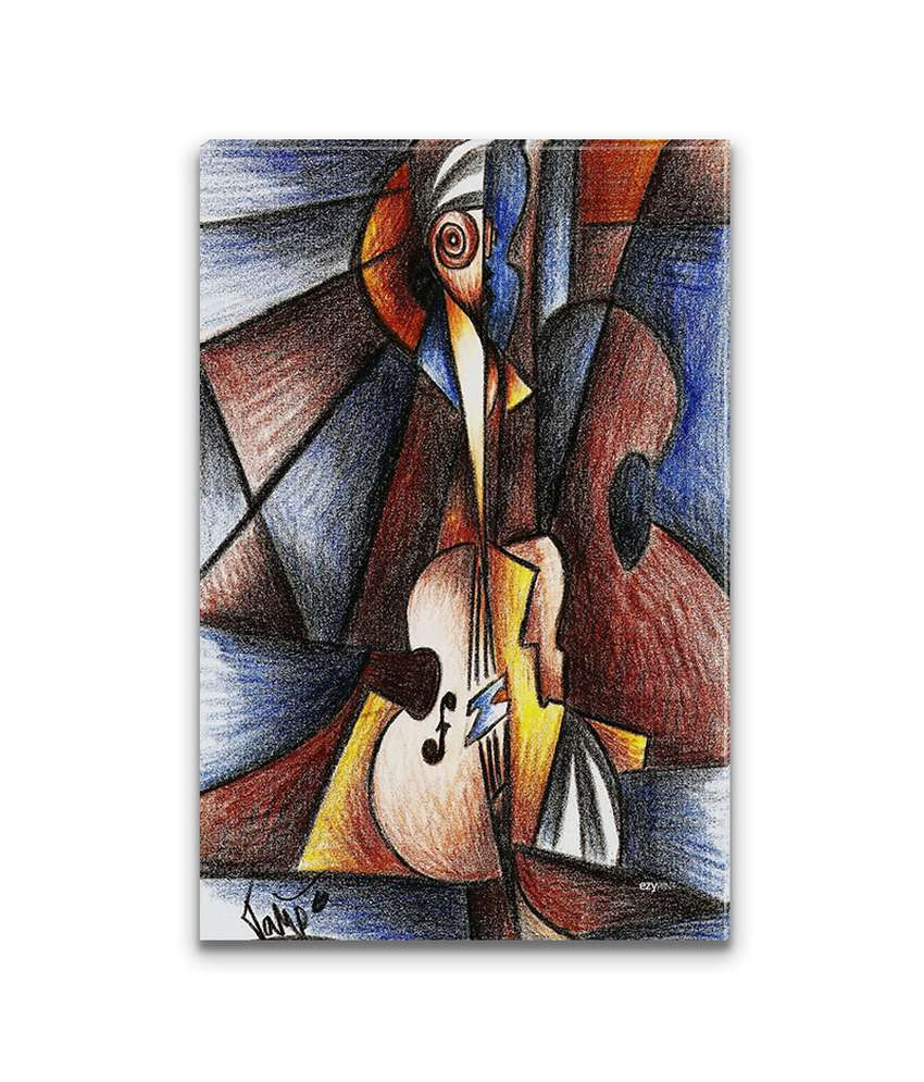 Ezyprnt Cello Cubism Painting Wall Hanging