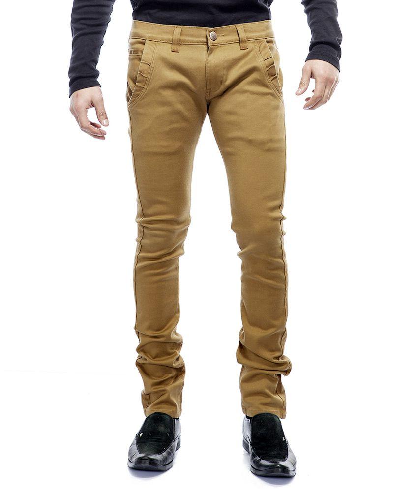 Savon Mens Slim Fit Stretch Beige Mill Dyed Denim Pants for Men