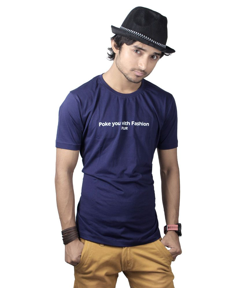 Spur Navy Cotton Printed T-Shirt