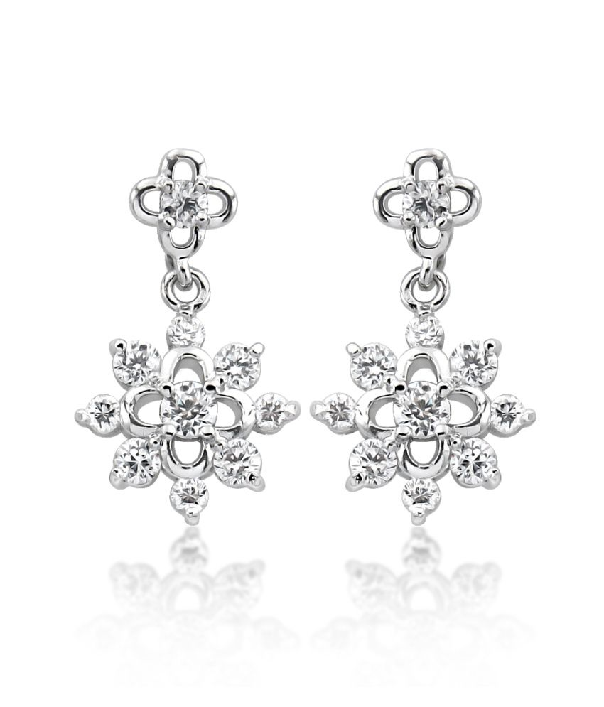 Big Tree 18k White Gold Plated Silver Cz Diamond Floral Drop Earring For Women