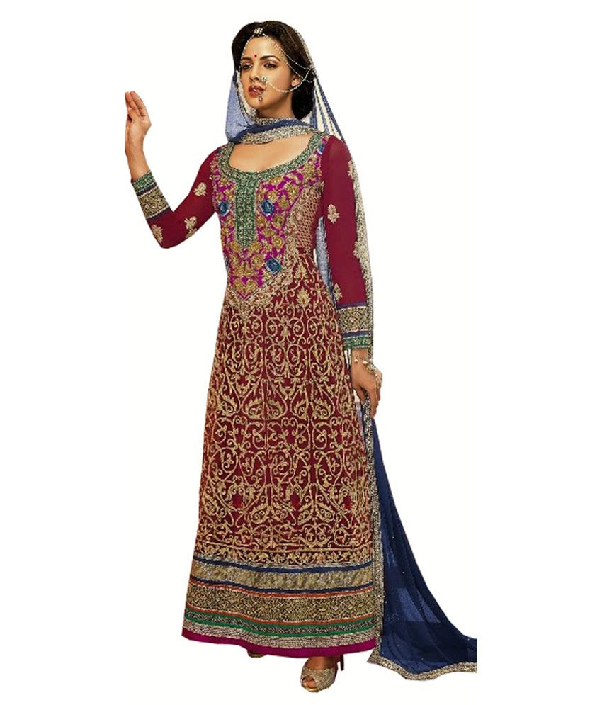 Ekhushi Maroon Pure Georgette Embroidered Dress Material